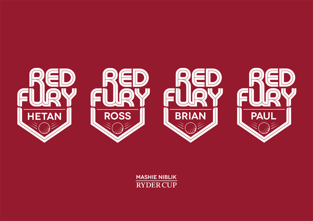 Red Fury golf tee logos with names