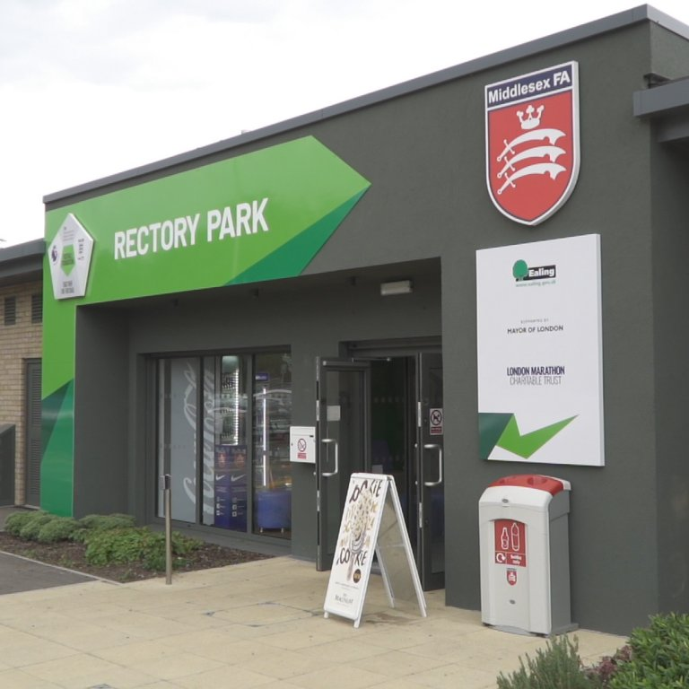 rectory park middlesex fa entrance view of community sports centre in northolt london