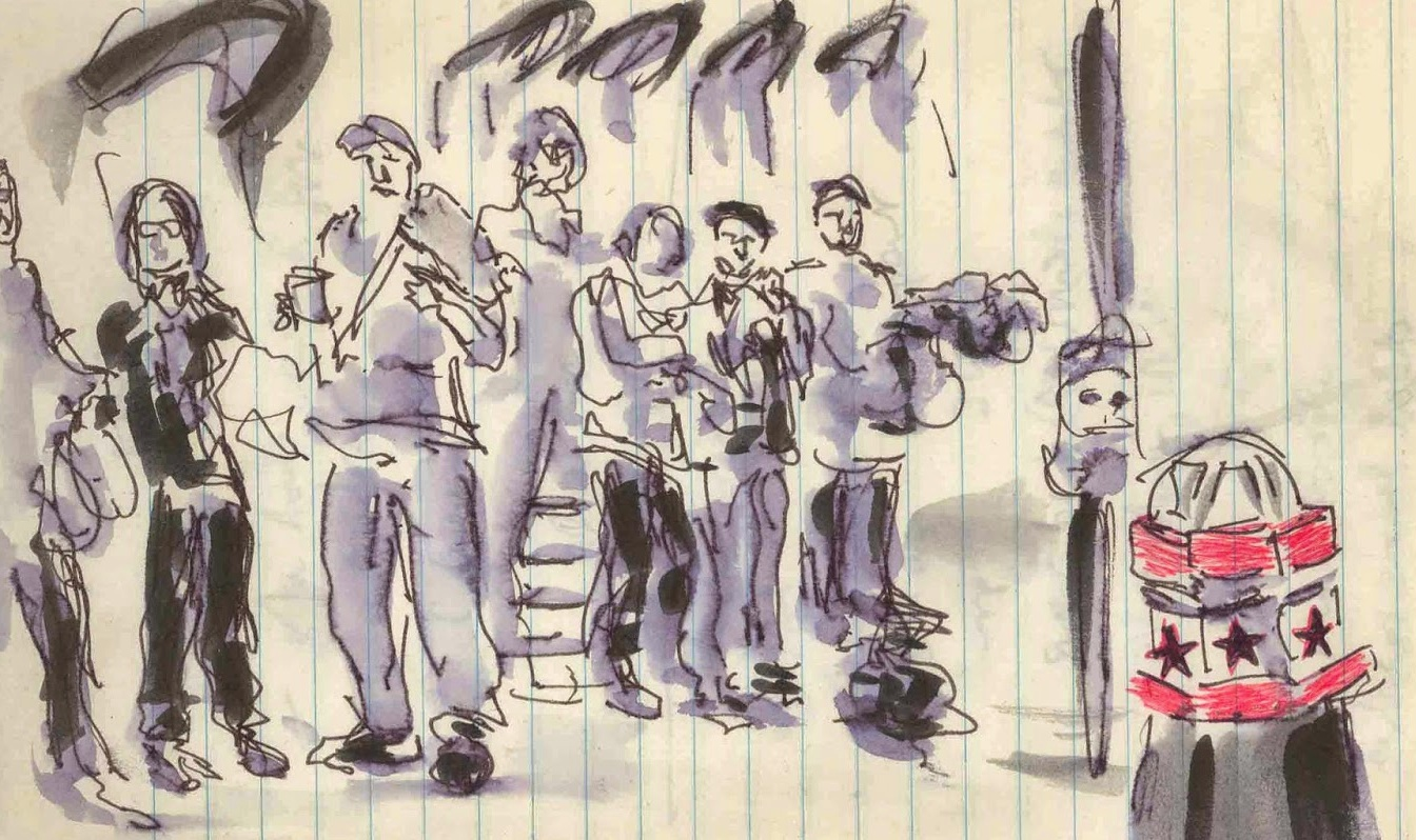 Sketch of journalists by Isobel Williams www.isobelwilliams.blogspot.com