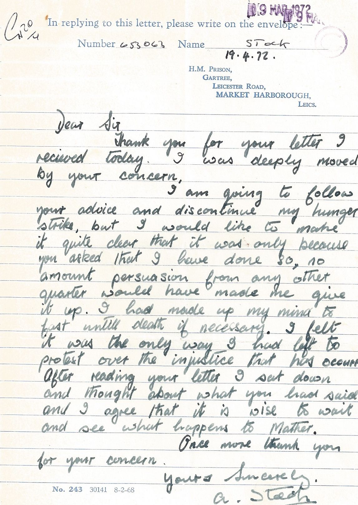 Tony Stock writes from HM Prison Gartree to Tom Sargant of JUSTICE, April 1972