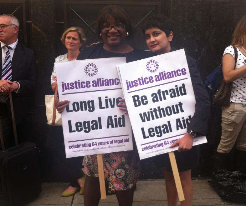Diane Abbott and Shami Chakrabarti at Justice Alliance demo in 2013