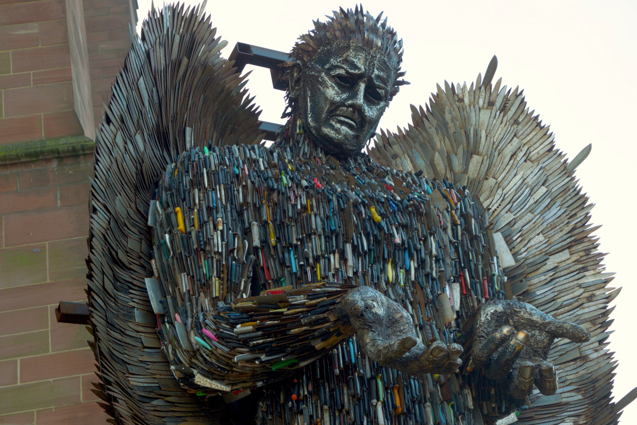 Knife Angel by Terry Kearney (from Flickr). Sculpture by the artist Alfie Bradley