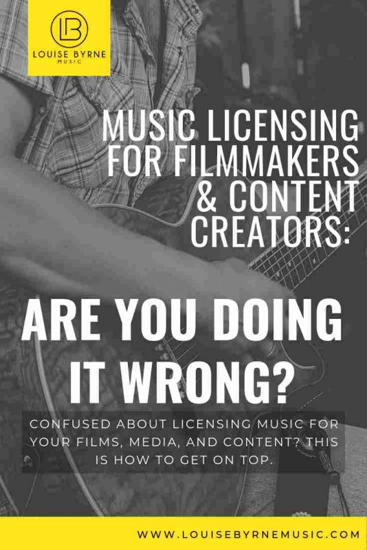 Guitarist Playing with Text Music Licensing for Filmmakers