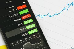 Share prices on phone with chart