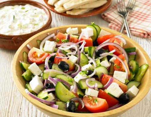 Easy Greek Salad, Pitta Breads and Tzatziki