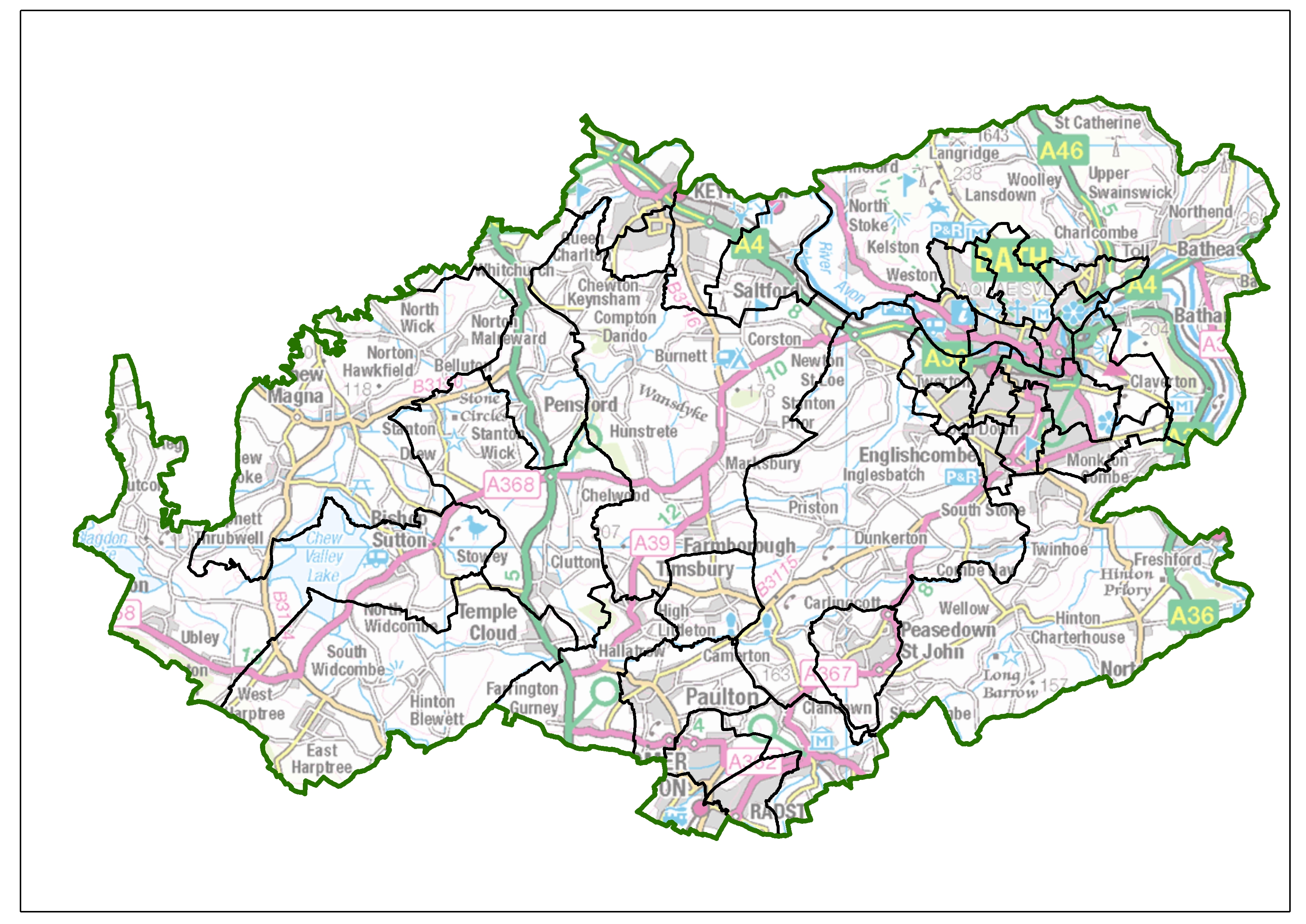 Council ward boundaries in Bath and North East Somerset are set to change. Find and use this image of the current wards at: