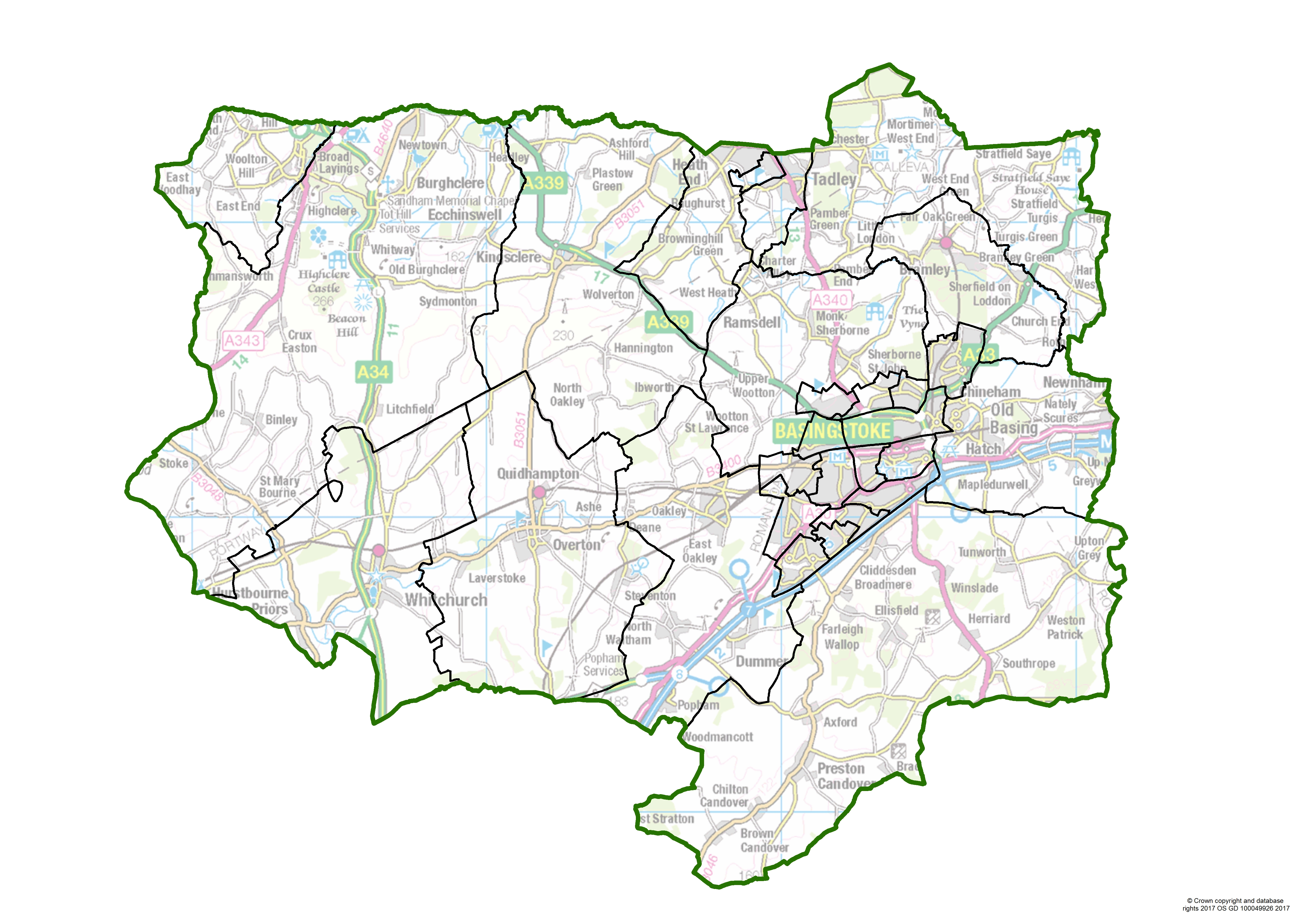 Map of current Basingstoke and Deane Borough Council ward boundaries