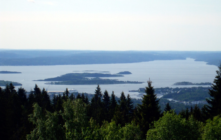 View over Oslo and Oslofjord from Frognerseteren T-Bane