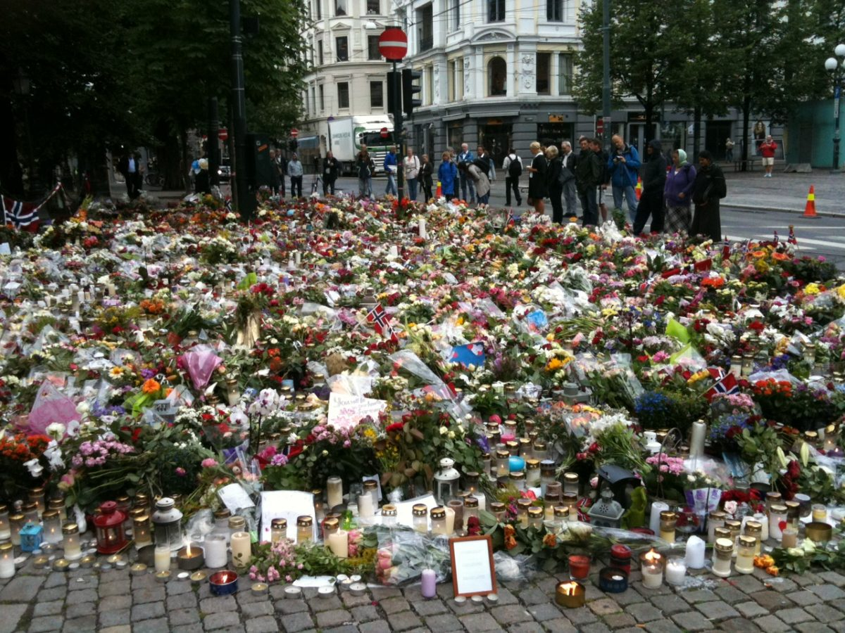 Tributes outside Oslo Cathedral