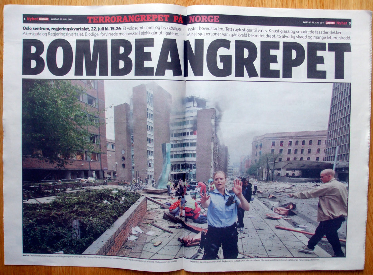 Norwegian newspaper Dagbladet reports on the Oslo bombing
