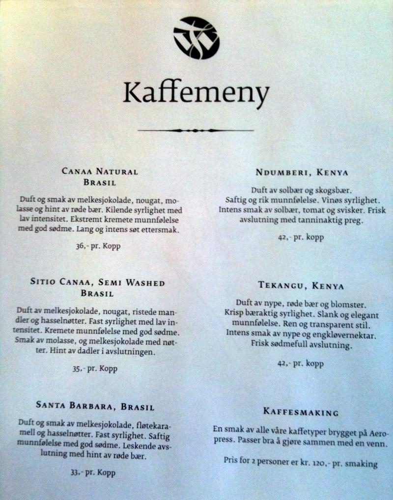 Coffee menu in Tim Wendelboe, Oslo