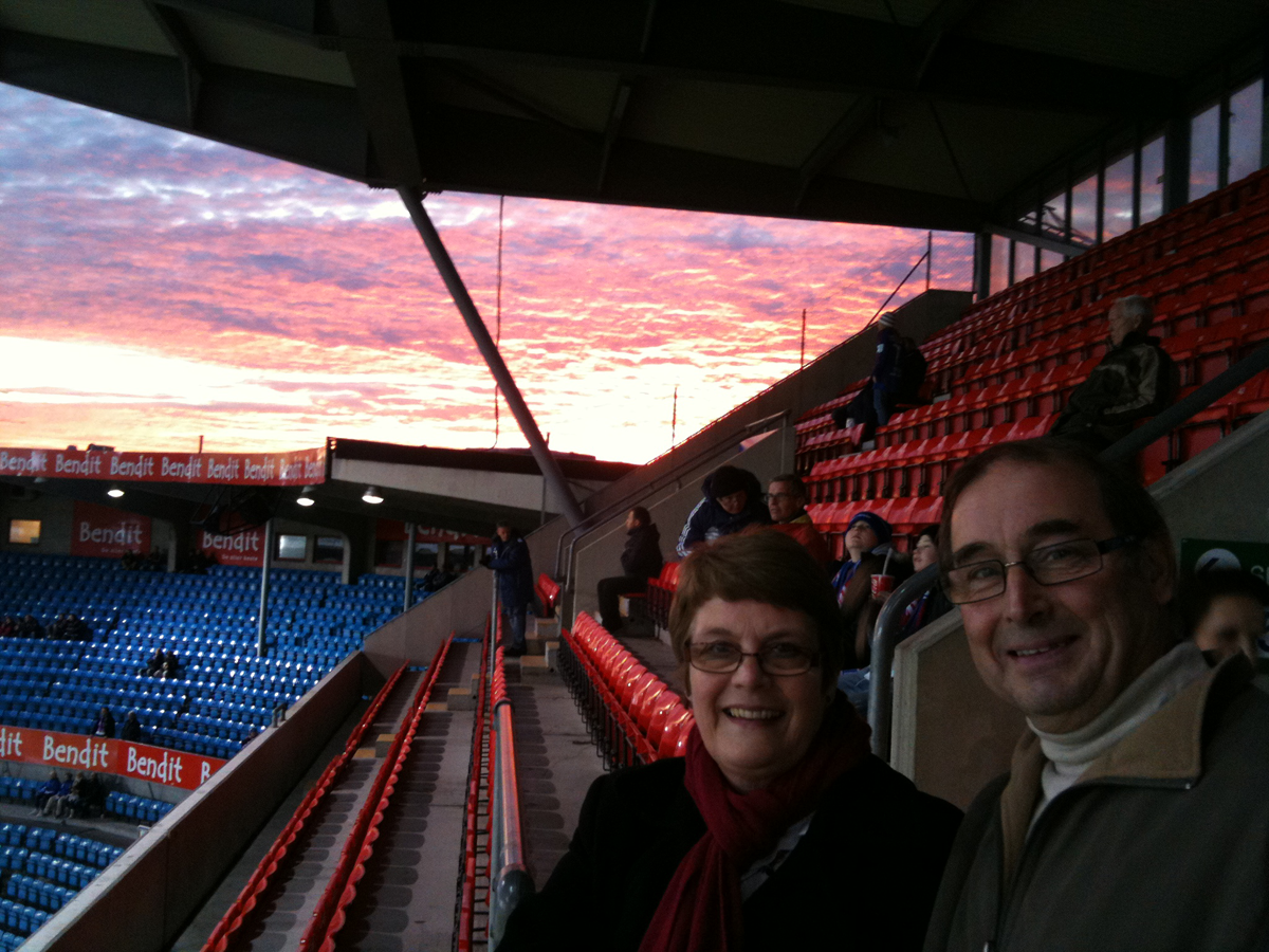 Mum and Dad at the Ullevaal with a beautiful Oslo sunset