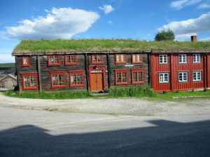 Traditional wooden housing in Røros, Central Norway