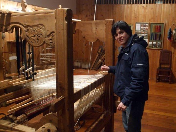 Gerry examining a loom!