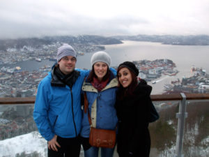 Me, Nicola & Simarjeet overlooking Bergen