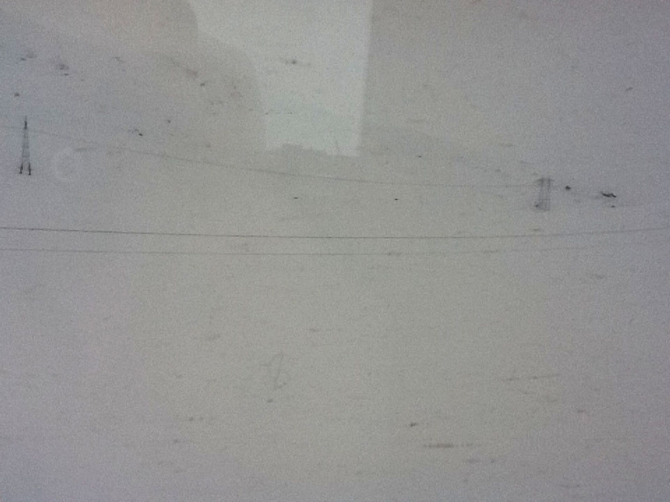 Near-whiteout outside the train window!
