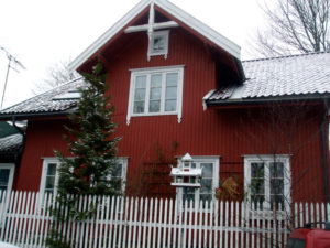 Red wooden house in Kampen