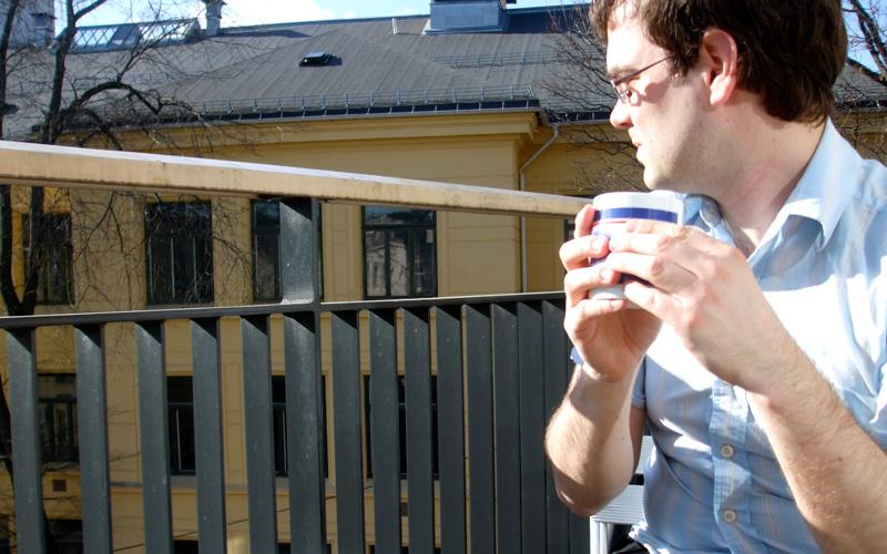 Me on my balcony, enjoying the spring sunshine