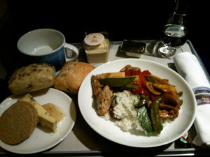 Meal served on British Airways Club Europe from Oslo to London