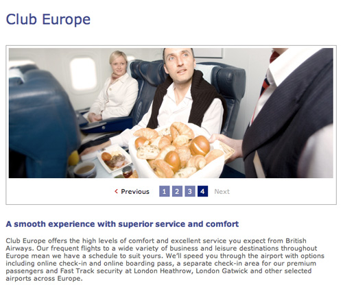 Club Europe British Airways promotion