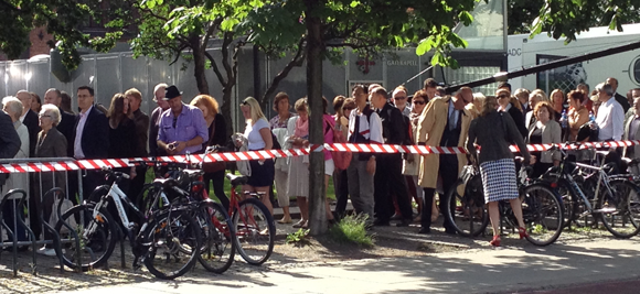 People queueing for the memorial at Oslo Cathedral