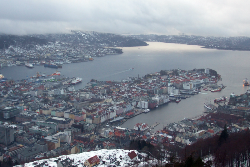 View across Bergen city centre, Norway