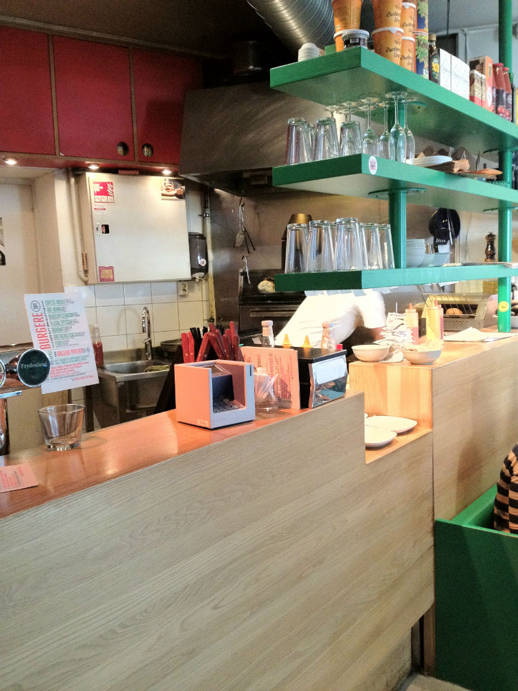 The counter inside Illegal Burger in Oslo
