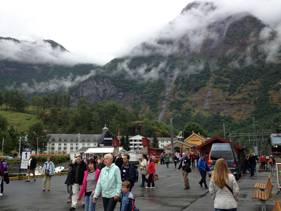 Tourists in Flåm