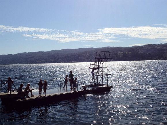 Diving into the Oslofjord at Drobak