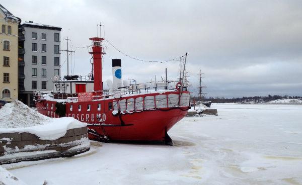 Helsinki port. Boat going nowhere.
