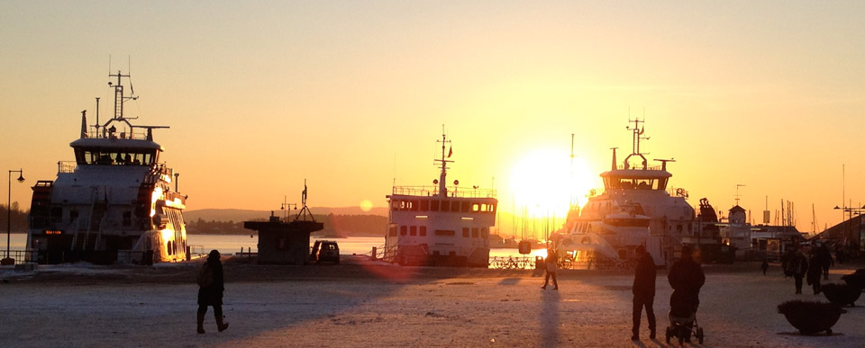 Sunset over Aker Brygge Oslo