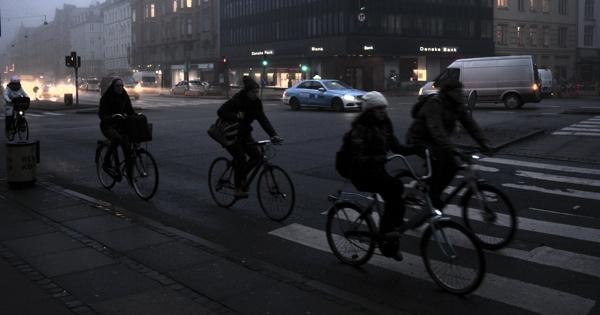 Danish cyclists commuting