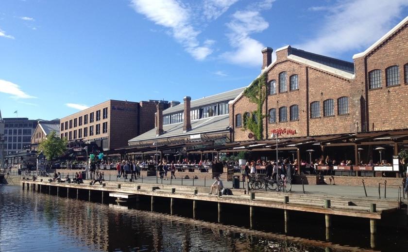 The Solsiden waterfront in Trondheim