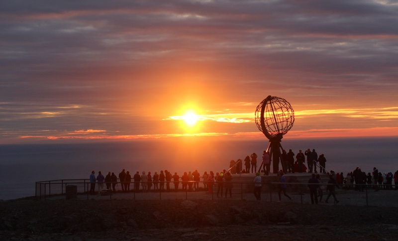 Midnight sun at Nordkapp