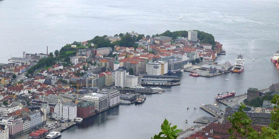 The view of central Bergen from the top of Mount Fløyen