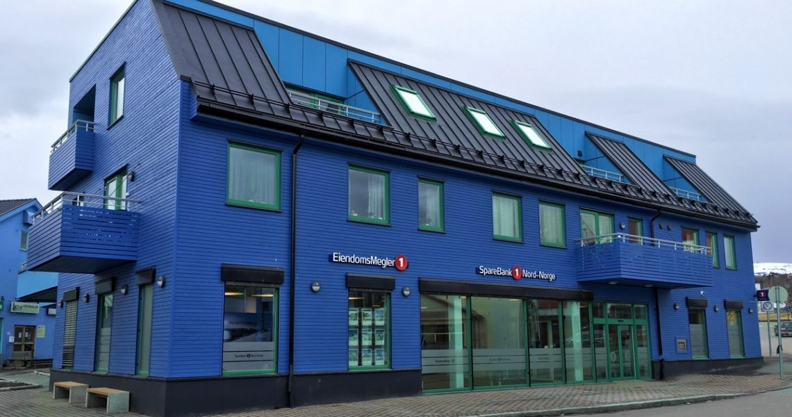 Sortland is Norway's Blue Town, where many of the town's buildings are painted in shades of blue.