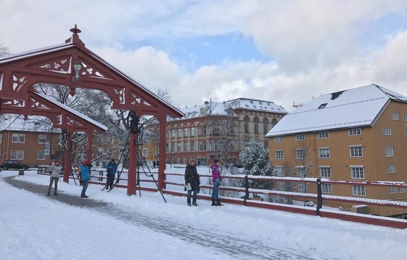 A snowy Gamle Bybro in Trondheim