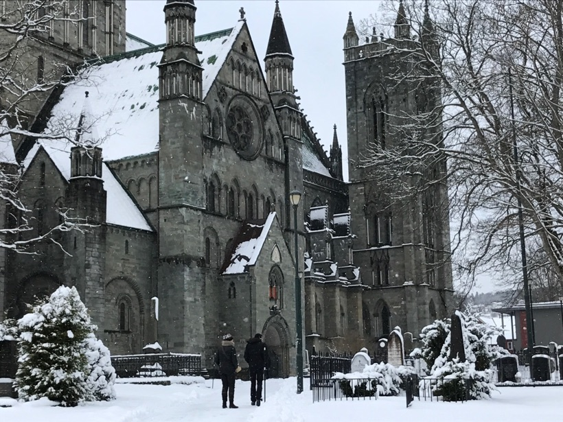 Nidaros Cathedral in a Trondheim winter