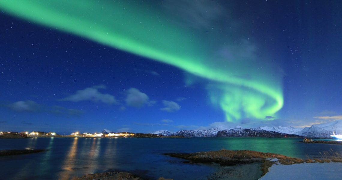 Northern lights photography in northern Norway