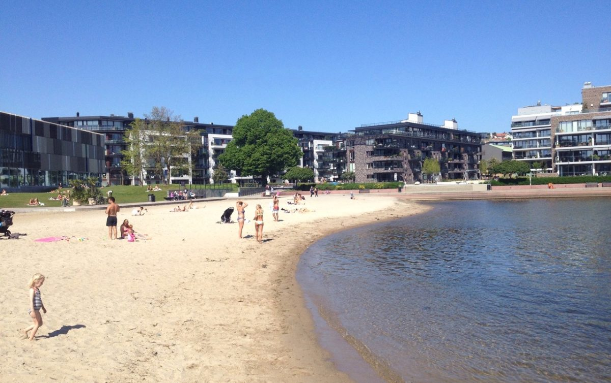 Beach in Kristiansand city centre