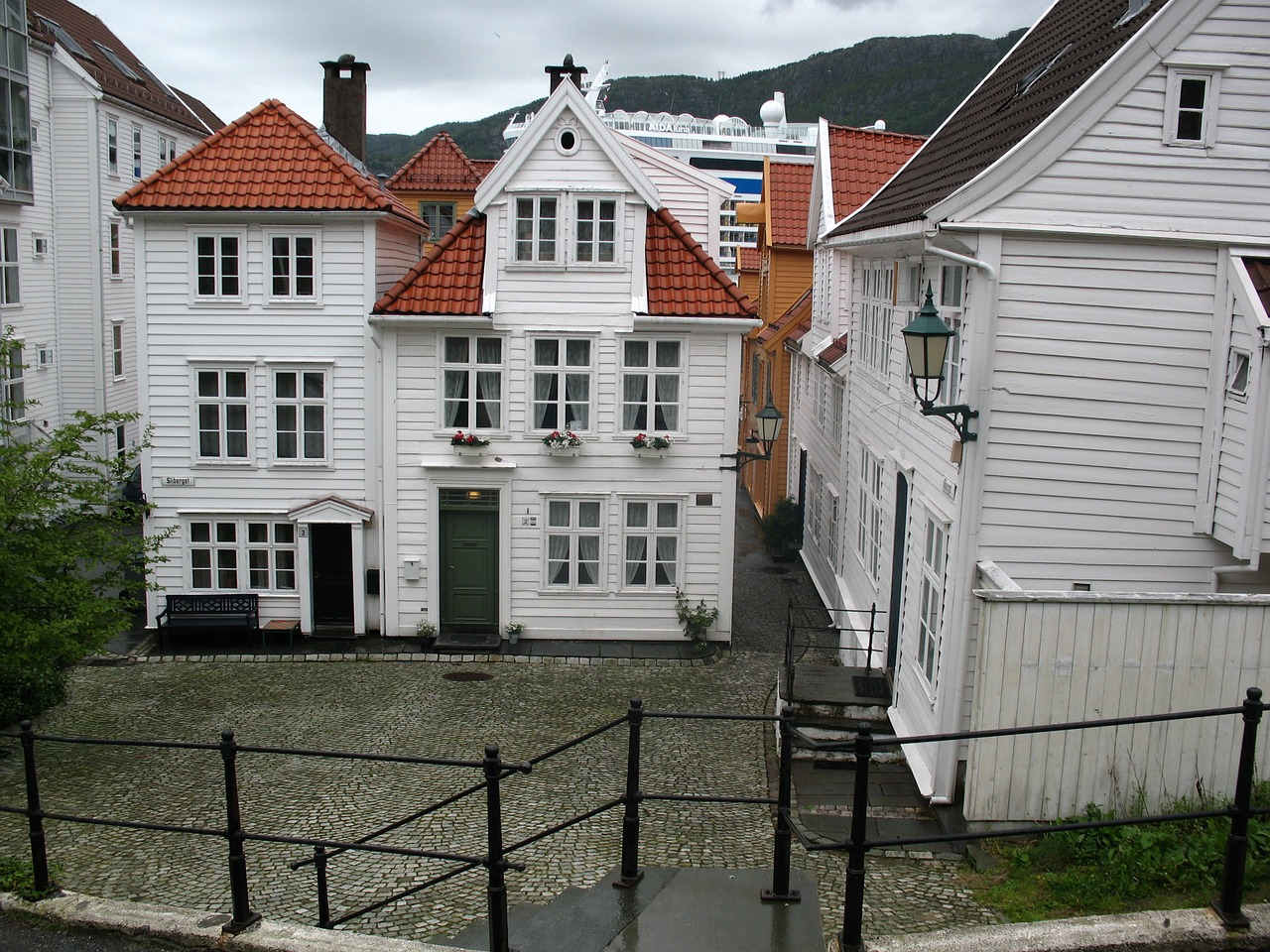 Traditional white houses in Bergen