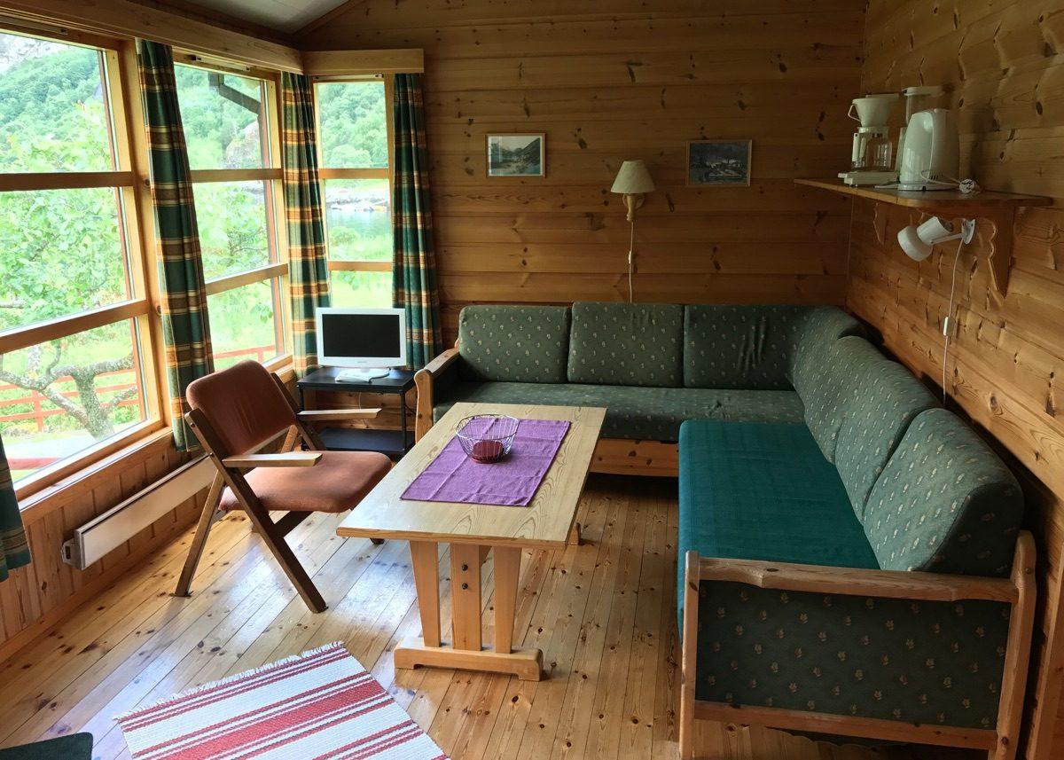Comfortable cabin lounge near Geiranger