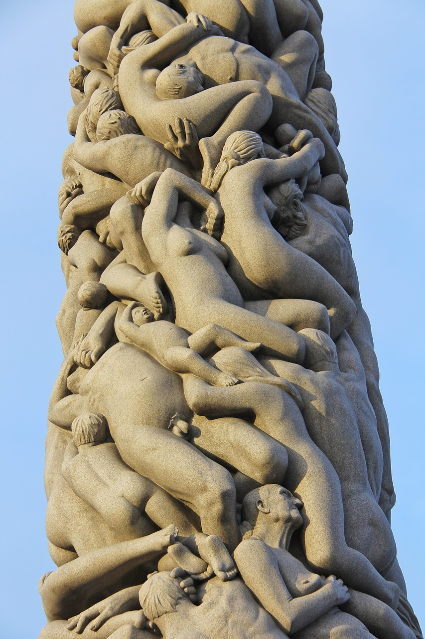 Sculpture in Norway: The stunning monolith is the centrepiece of the remarkable Vigeland Sculpture Park in Frogner, Oslo, Norway.
