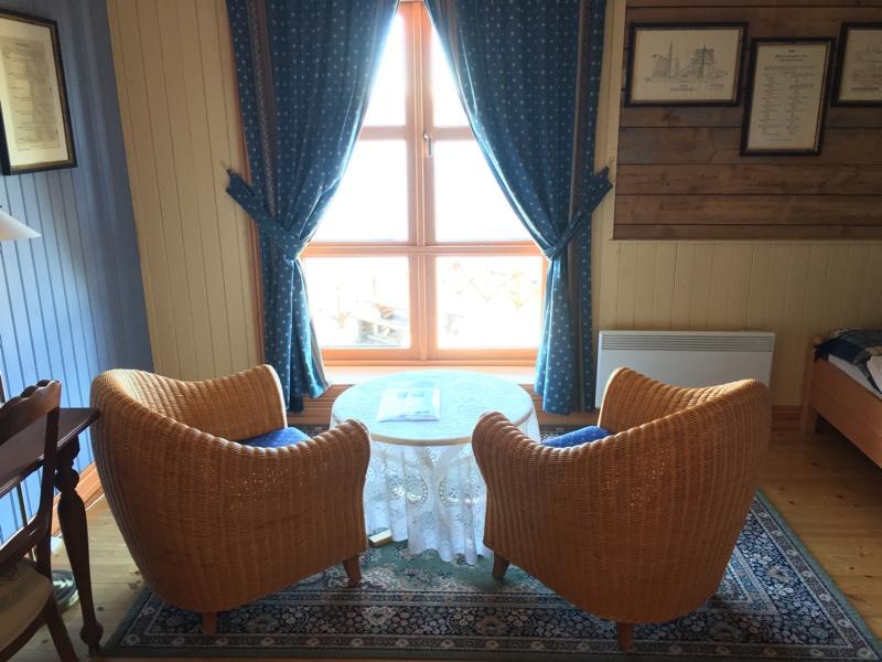 A guest room at Sandtorgholmen Hotel
