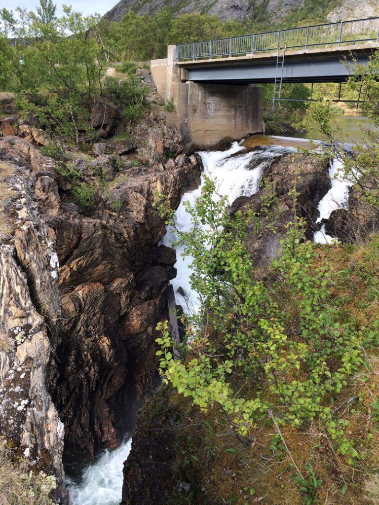 Adamsfjordfossen waterfall in Finnmark, Norway