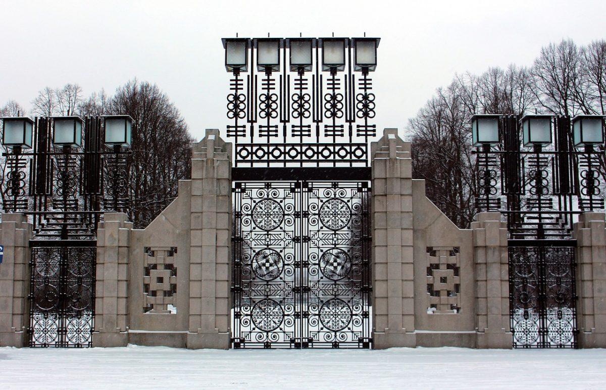Vigeland Park gates in winter