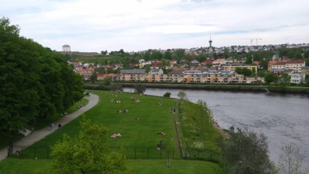 The riverside park by Nidaros Cathedral