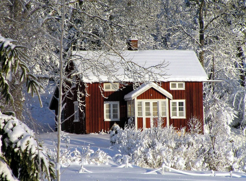Scandinavian house in the winter