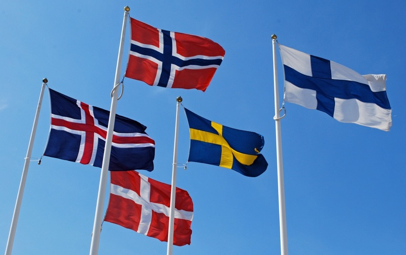 The flags of the Nordic nations