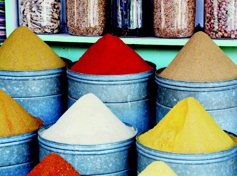 Colourful spices in Marrakech